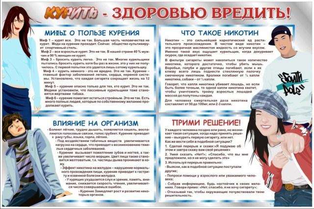 Профилактика курения: табакокурения среди подростков, для детей
